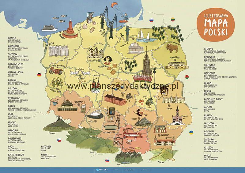 Ilustrowana Mapa Polski Planszedydaktycznepl