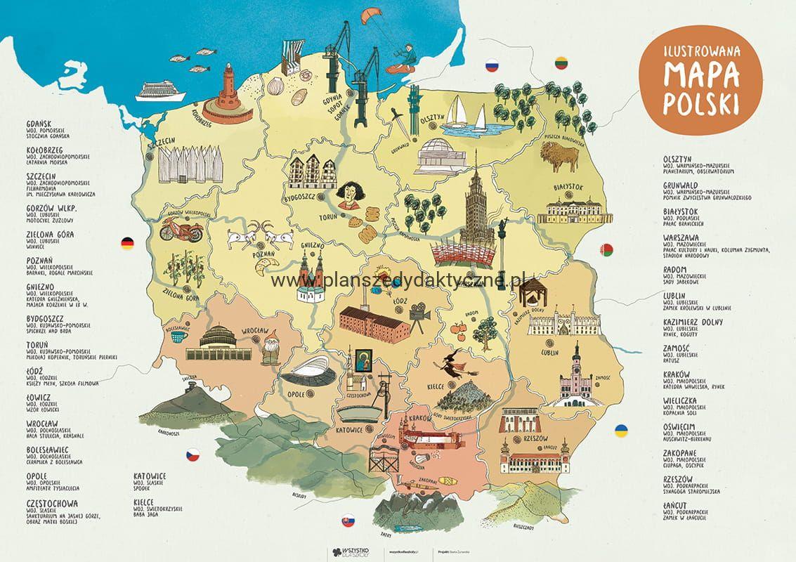 Ilustrowana Mapa Polski Planszedydaktyczne Pl
