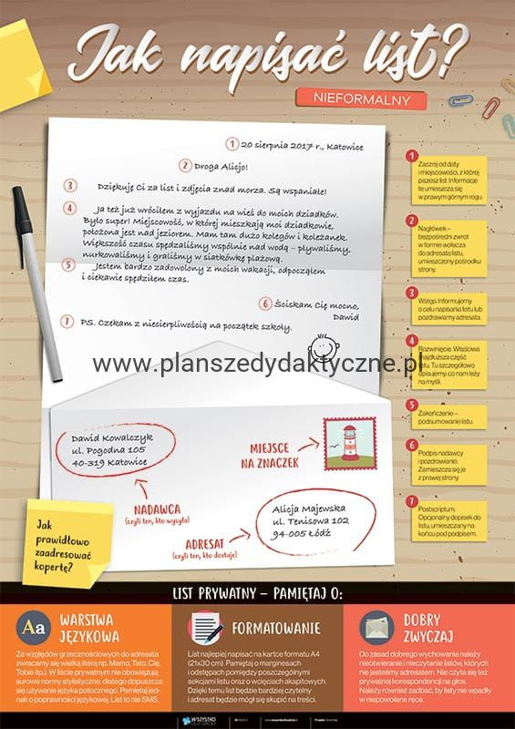 Jak Napisać List Nieformalny Planszedydaktycznepl